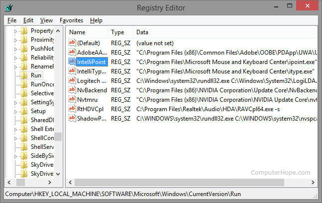 changing the system registry